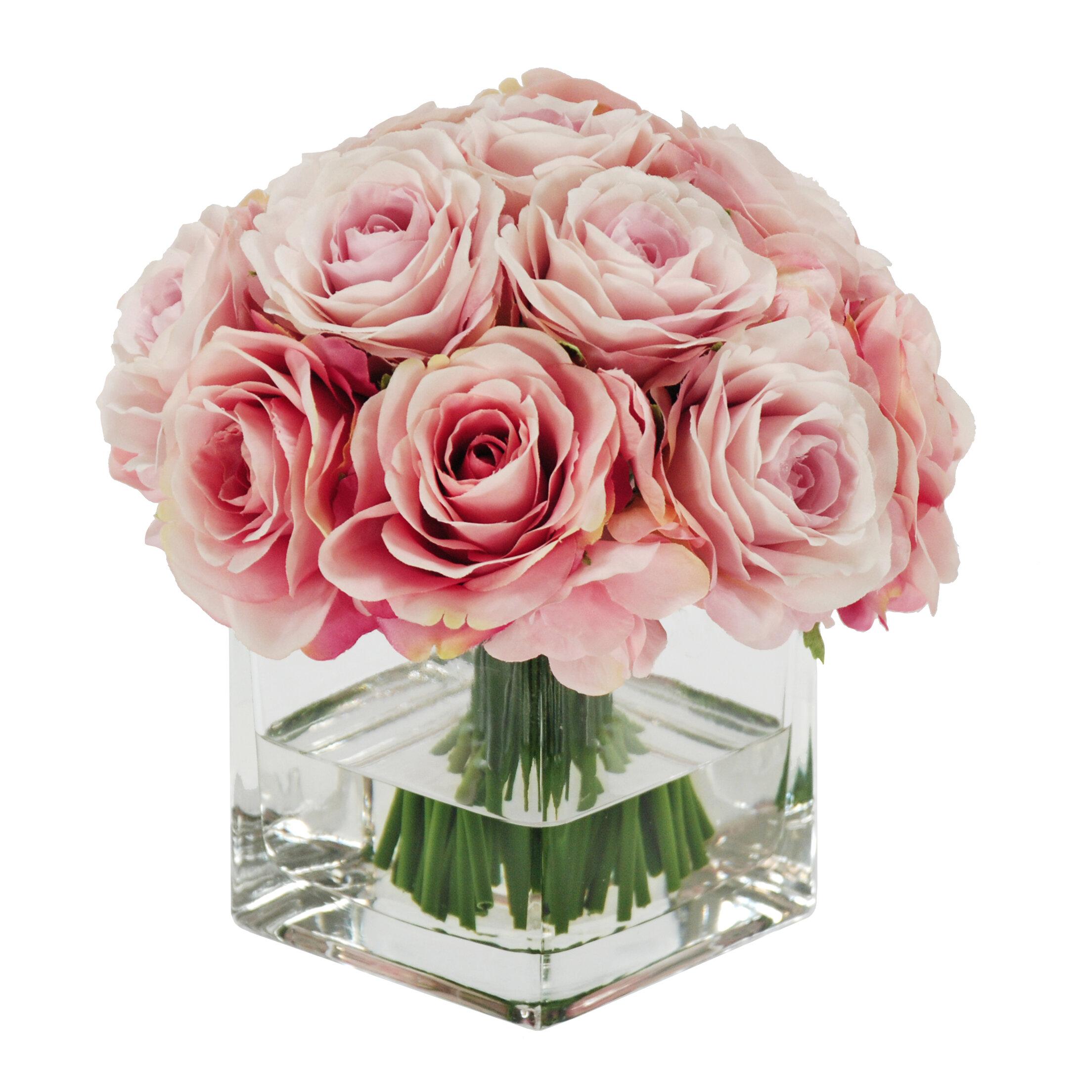 Winward Silks Rose Bouquet In Square Vase Floral Arrangements