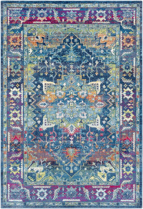 Bungalow rose tillamook silk traditional floral sky blue for Bright blue area rug