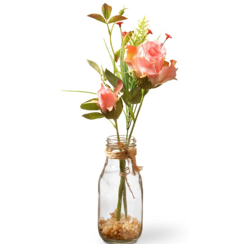 August Grove Pink Roses In Glass Vase Reviews Wayfair