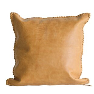 Louann Whip Stitch Leather Throw Pillow
