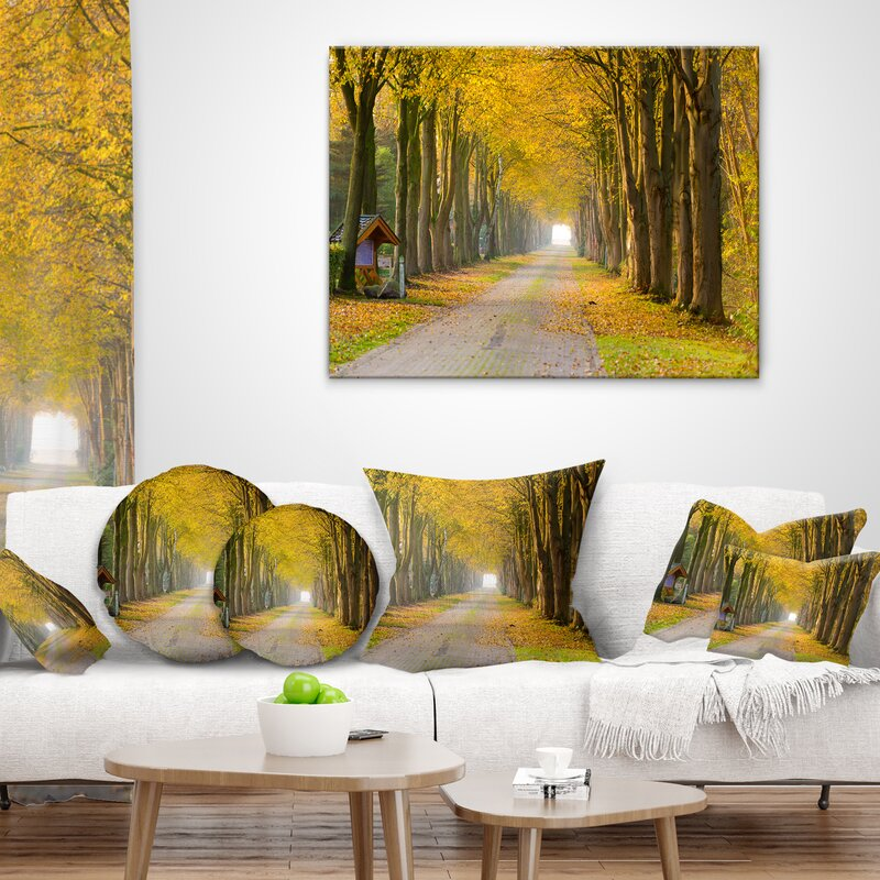 East Urban Home Country Road Below Trees Landscape Photography Lumbar Pillow Wayfair