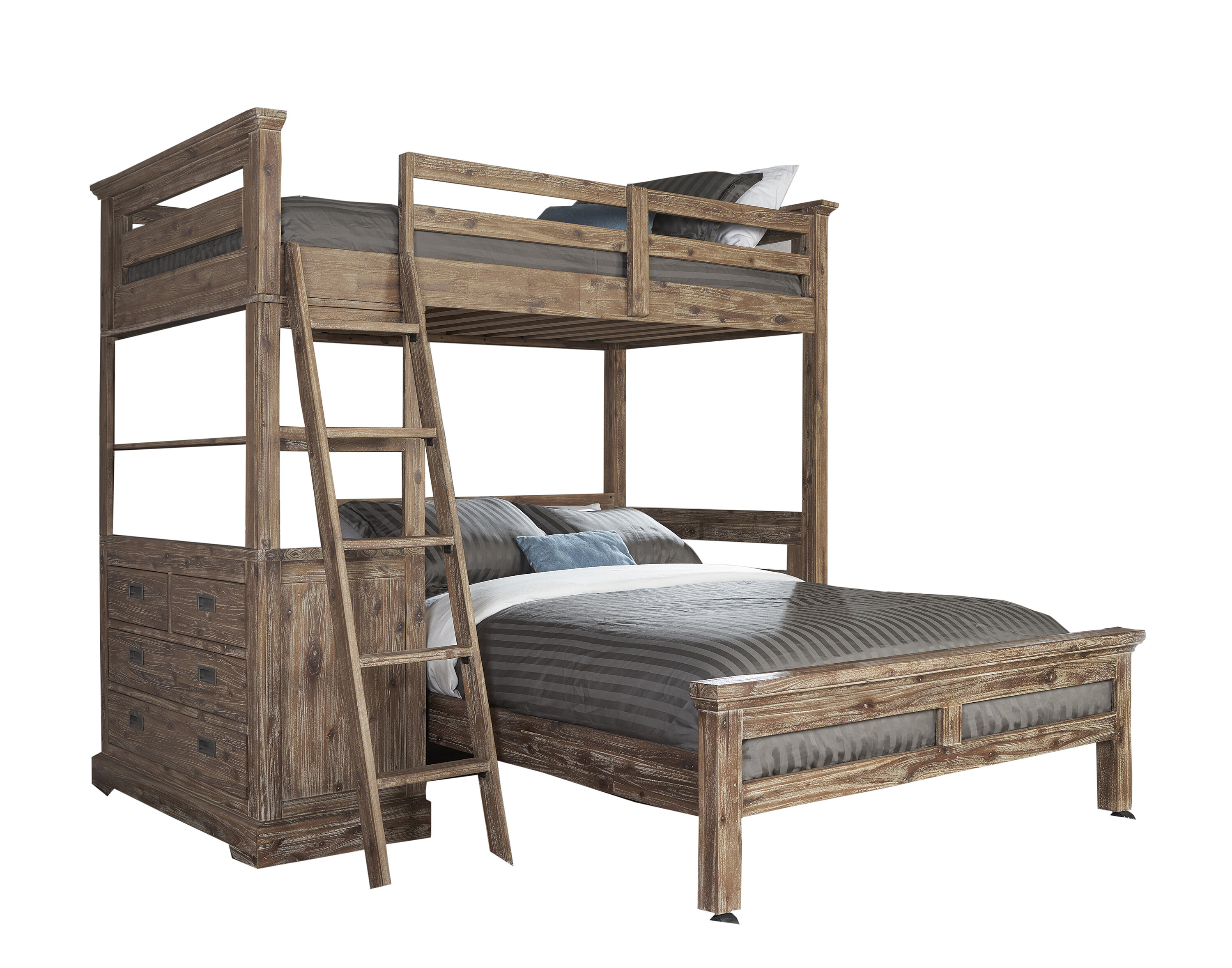 Elise Twin Over Full L Shaped Bunk Bed With 4 Drawer Chest And Lower