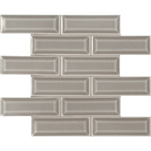 Dove Gray 2 inch  x 6 inch   Beveled Ceramic Mosaic Tile in Gray