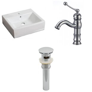 Affordable Price Ceramic 21 Wall-Mount Bathroom Sink with Faucet and Overflow By Royal Purple Bath Kitchen