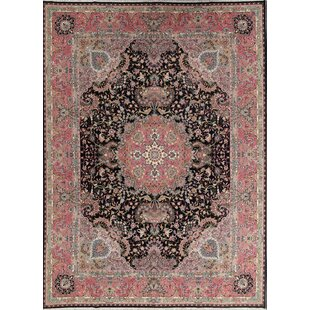 Best Reviews St Philips Soft Plush Tabriz Persian Black/Burgundy Area Rug By World Menagerie