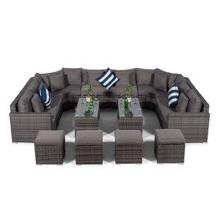 Villasenor Grey Rattan U Shape 8 Seat Sofa With 2 X 2 Stool Coffee Table, Outdoor Patio Garden Furniture By Sol 72 Outdoor