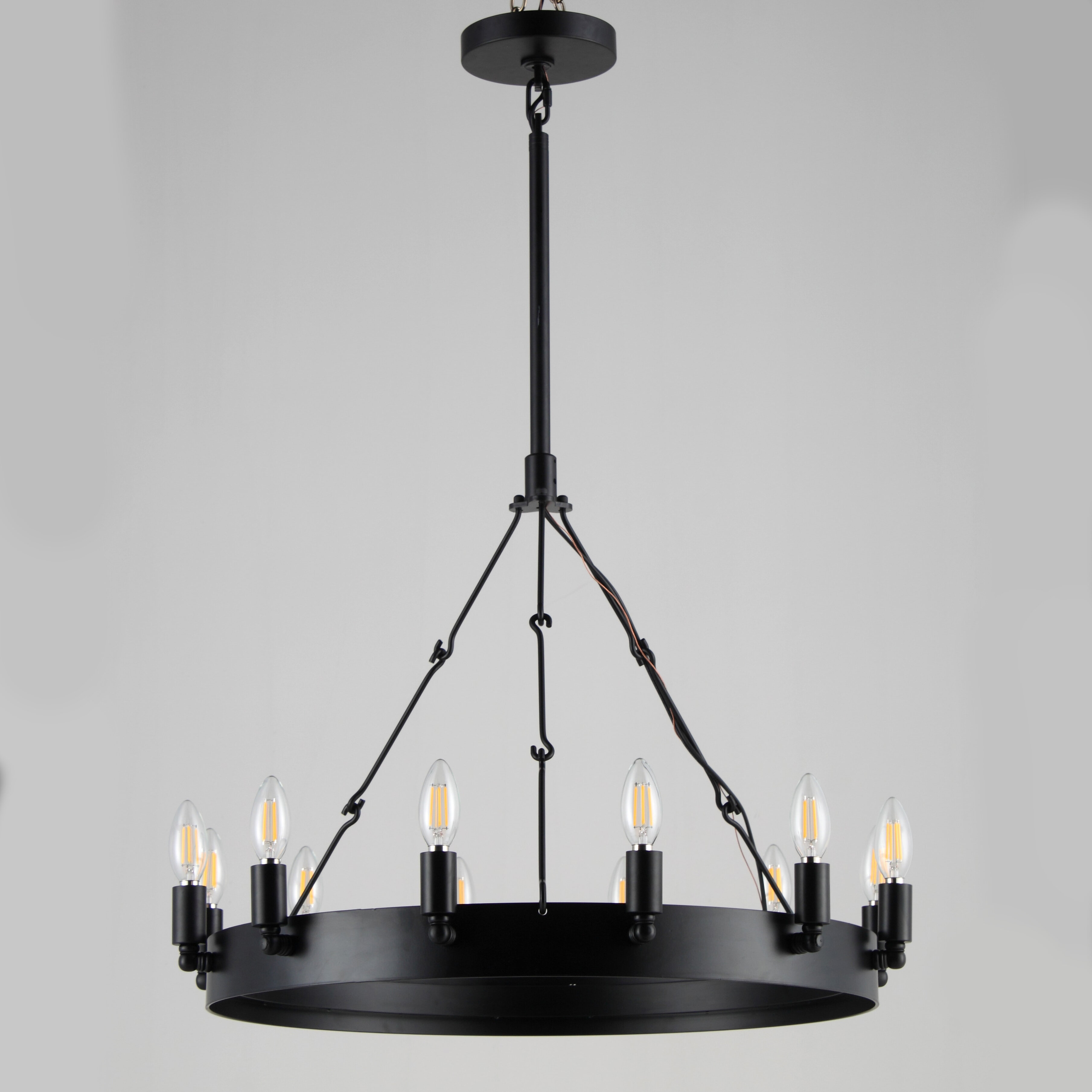 Gracie Oaks Preisser 12 Light Unique Statement Wagon Wheel Chandelier With Wrought Iron Accents Wayfair