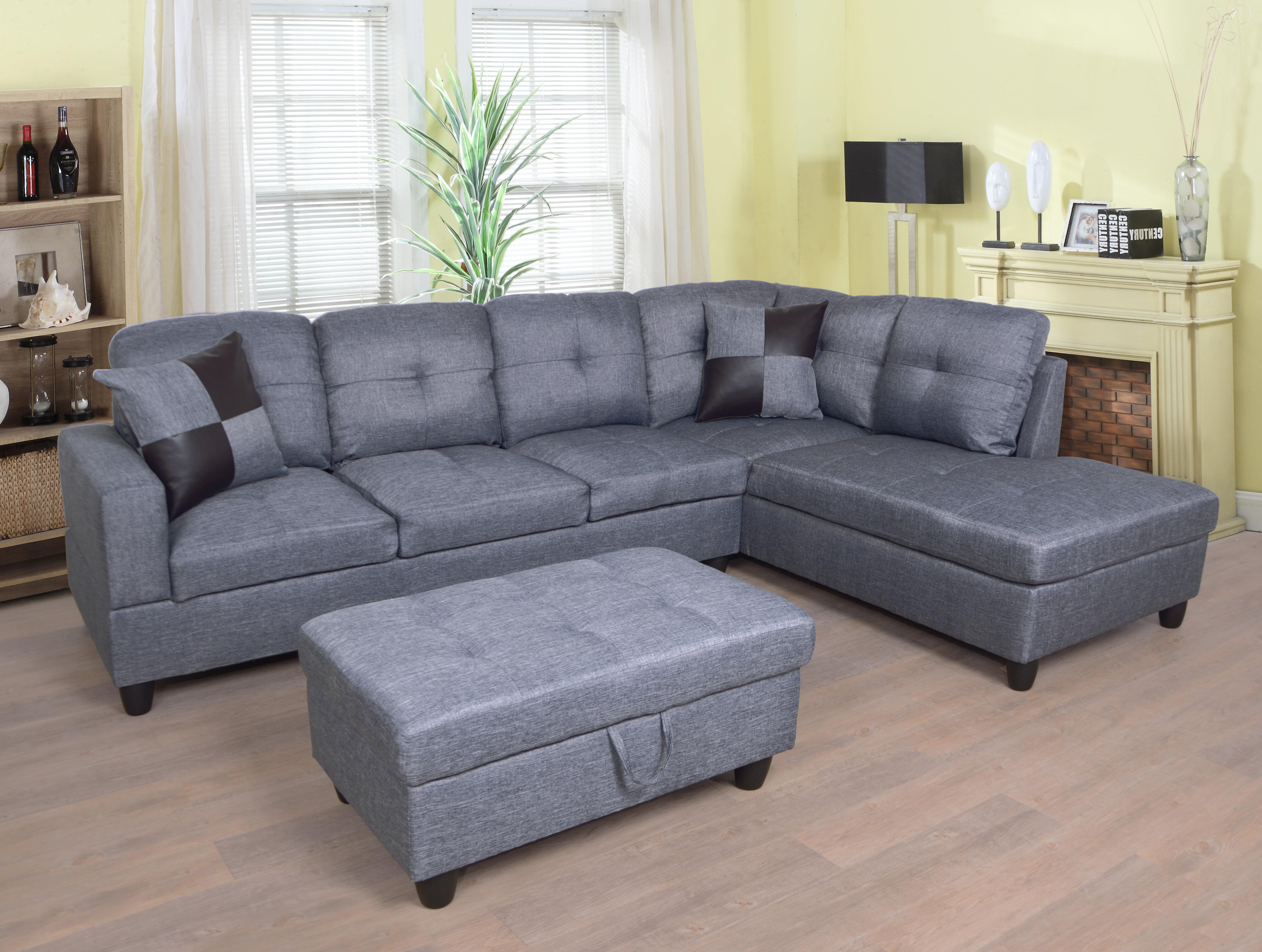 Ebern Designs Mendoza 103 5 Wide Right Hand Facing Sofa Chaise With Ottoman Reviews Wayfair