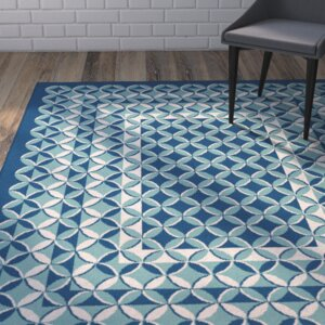 Gorton Navy/Aqua Indoor/Outdoor Area Rug