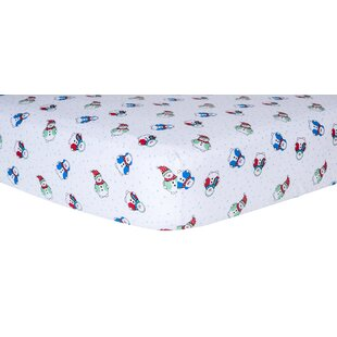 Reviews Snowman Print Fitted Crib Sheet ByTrend Lab