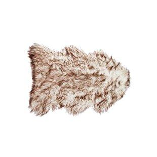 Best Espinosa Sheepskin Brown/White Area Rug By Mercer41