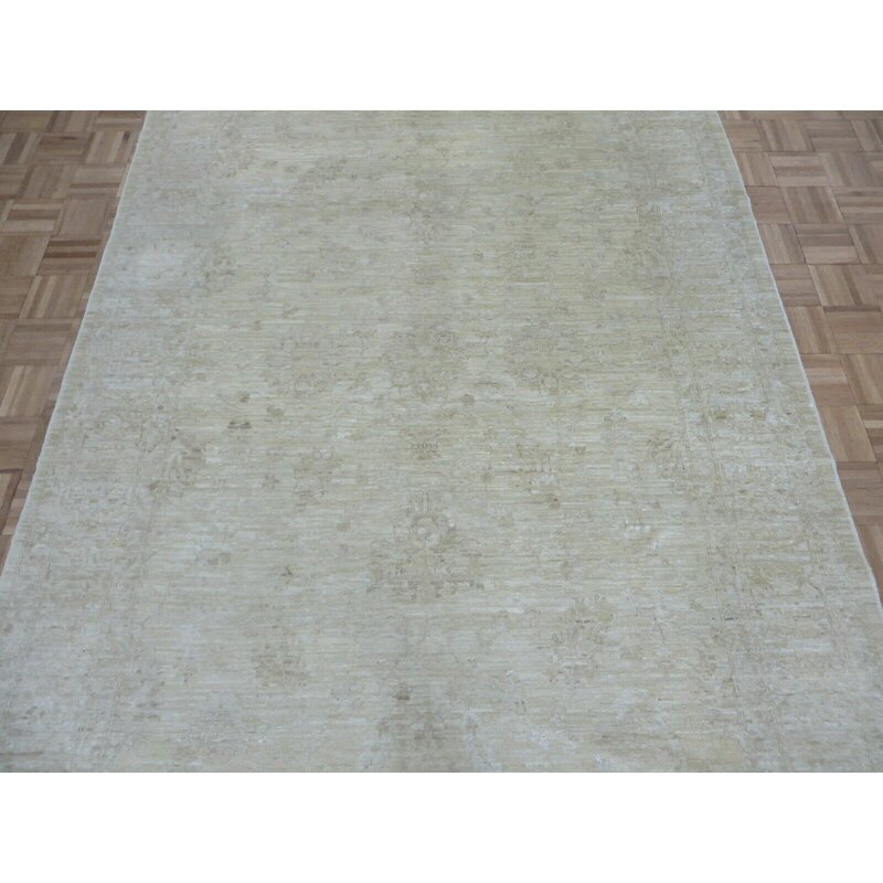 Canora Grey One Of A Kind Katelyn Hand Knotted Oushak Beige 6 1 X 8 9 Wool Area Rug Wayfair