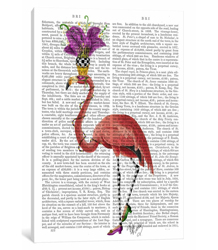 'Mardi Gras Flamingo' Graphic Art Print on Canvas
