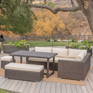 Paxson 7 Piece Rattan Sectional Set with Cushions