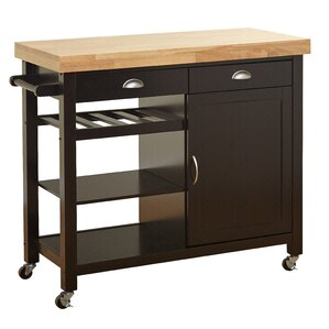 Nathaly Kitchen Cart with Wood Top by Breakwater Bay Top Reviews