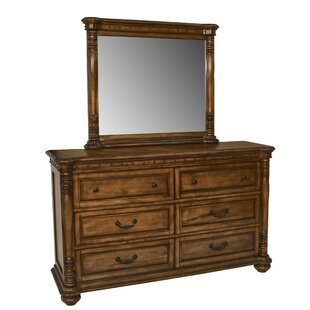 Charlton Home Bastion 6 Drawer Double Dresser with Mirror