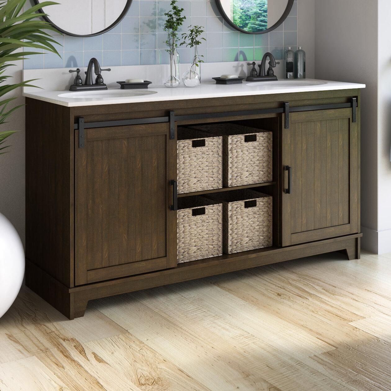 Gracie Oaks Trogdon Sliding Barn Door 60 Double Bathroom Vanity Set Reviews Wayfair