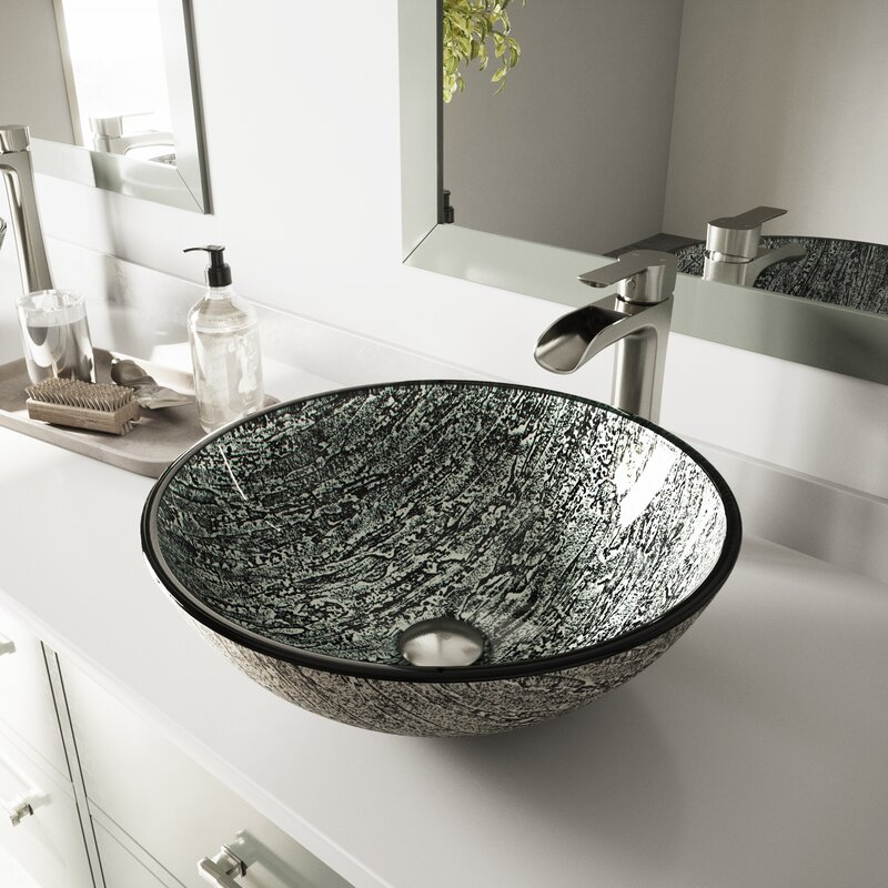 Vigo Titanium Gray Tempered Glass Handmade Circular Vessel Bathroom Sink Reviews Wayfair