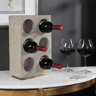 Williston Forge Cluck Concrete 6 Bottle Tabletop Wine Rack