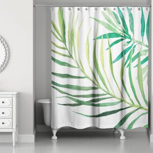 Donte Watercolor Palms Single Shower Curtain