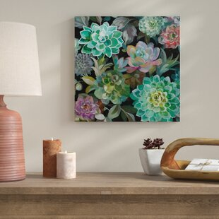 U0027Floral Succulents V2 Cropu0027 Print On Wrapped Canvas