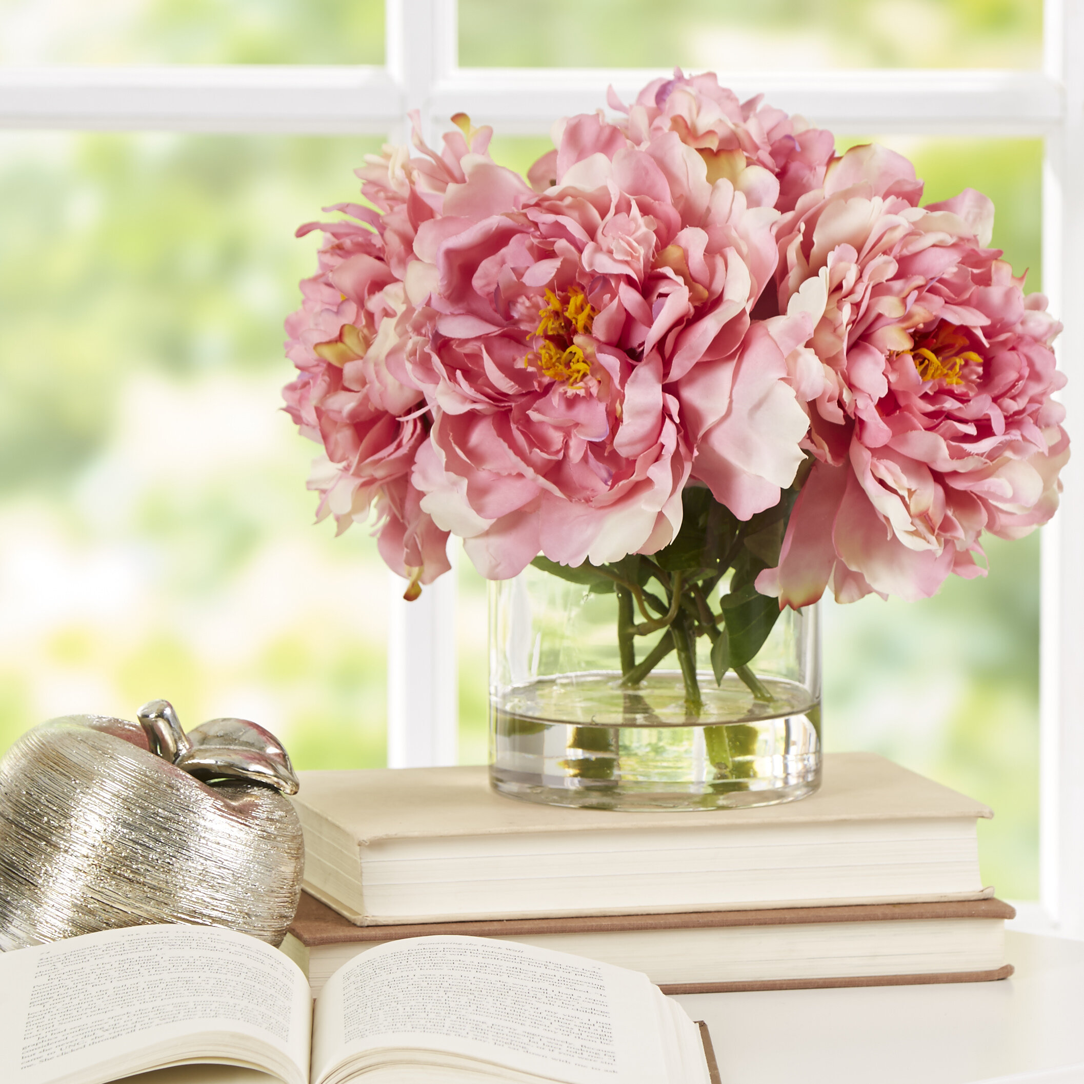 Scollfyld Pink Peony In Acrylic Water Glass Vase Reviews Joss Main