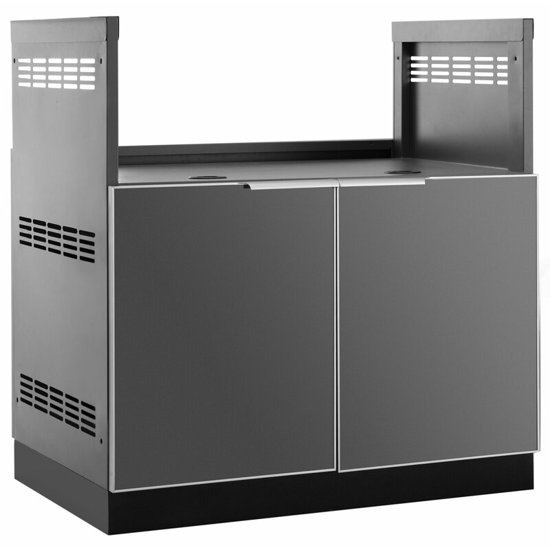 "Outdoor Kitchen 33"" W x 23"" D Insert Grill Cabinet in Slate Gray"