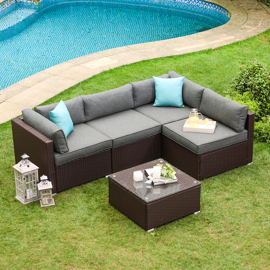 Wrought Studio Bavorov Outdoor Furniture 2 Piece Rattan Sectional Seating Group With Cushions Reviews Wayfair
