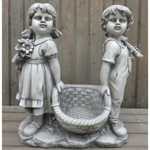 Mcfadden Boy And Girl Carrying Basket Statue By Happy Larry