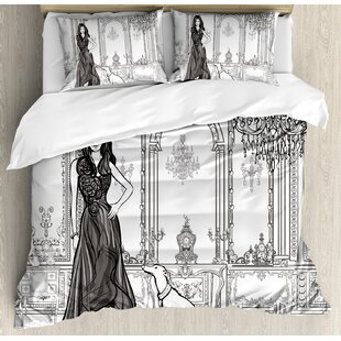 East Urban Home Sexy Fashion Woman in Victorian Palace with Dog Baroque Illustration Duvet Set