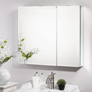 Brunot Recessed or Surface Mount Frameless 2 Doors Medicine Cabinet with 4 Adjustable Shelves