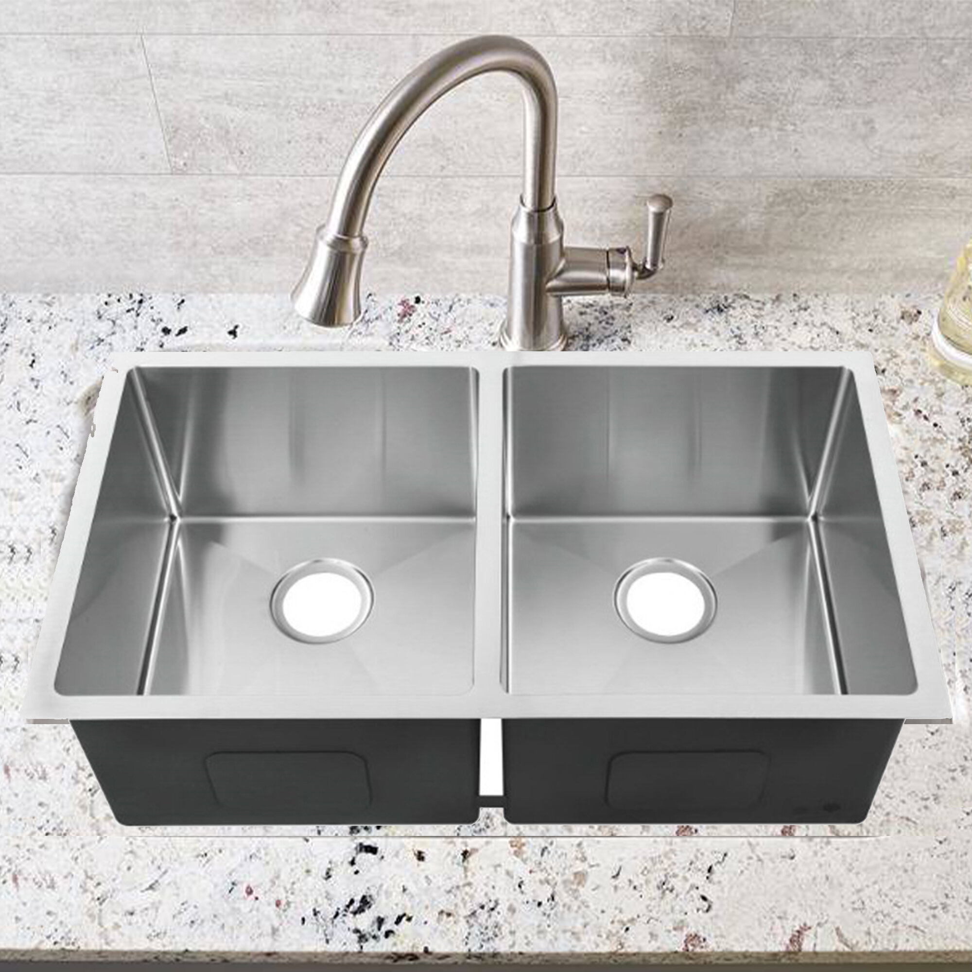 "3.3"" L x 3"" W Double Bowl Undermount Kitchen Sink"