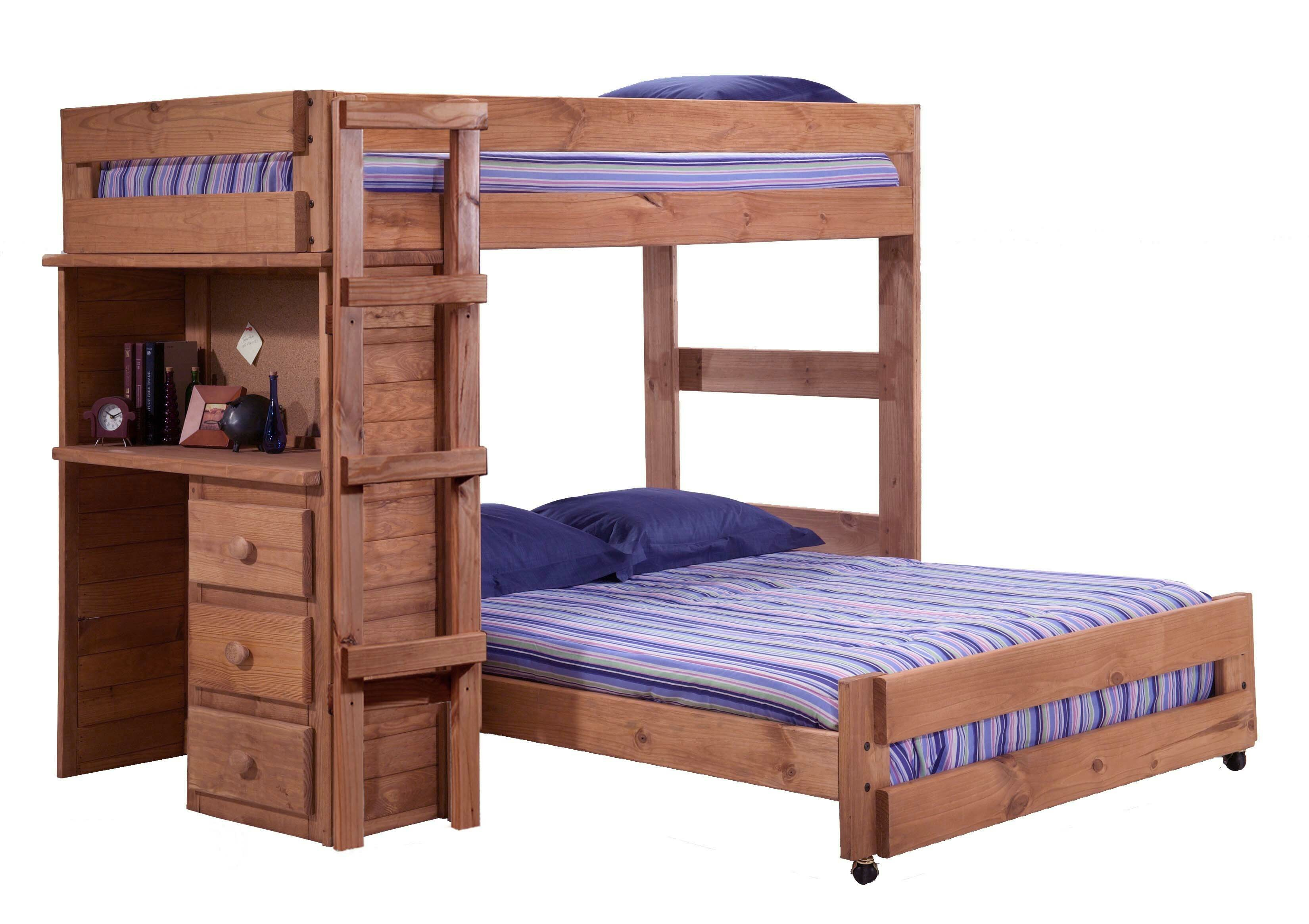 Harriet Bee Chumbley Twin Over Full Solid Wood L Shaped Bunk Beds With Built In Desk By Harriet Bee Wayfair