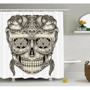 Xavia Day of The Dead Spanish Sugar Skull With Floral Accessories and Feather Earrings Single Shower Curtain