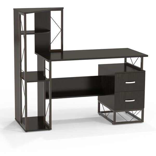 Mayline Soho Computer Desk With Attached Storage Shelving 2 Right Drawers Reviews Wayfair
