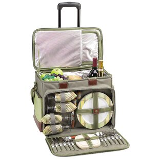 Freeport Park Cotton Canvas Picnic Cooler for Four with Wheels