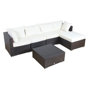 Auro Furniture Patio 6 Piece Rattan Sectional Set with Cushions
