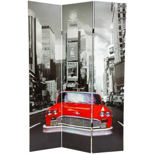 New York City Taxi 3 Panel Room Divider by East Urban Home