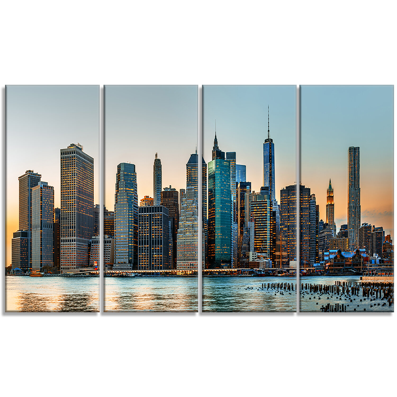 Designart New York City Skyline 4 Piece Photographic Print On Wrapped Canvas Set Wayfair