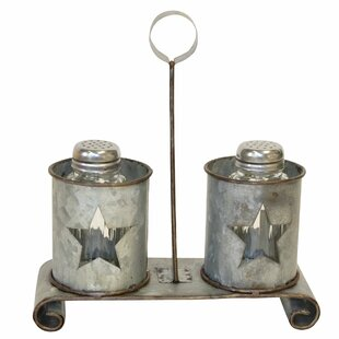 Metal Star Salt and Pepper Shaker Shaker Set with Stand