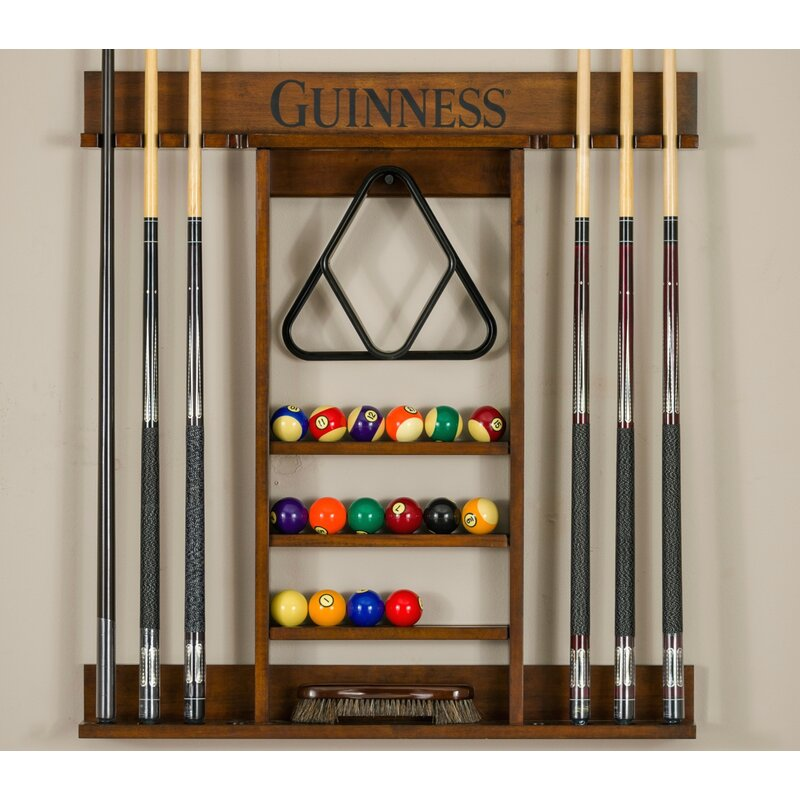 American Heritage Guinness Pool Table Wall Cue Rack