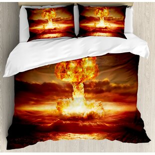 War Home Nuclear Bomb in the Ocean Fusion Radioactive Weapon Apocalypse Illustration Duvet Set by Ambesonne