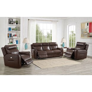 Efren Reclining 3 Piece Leather Living Room Set Red Barrel Studio
