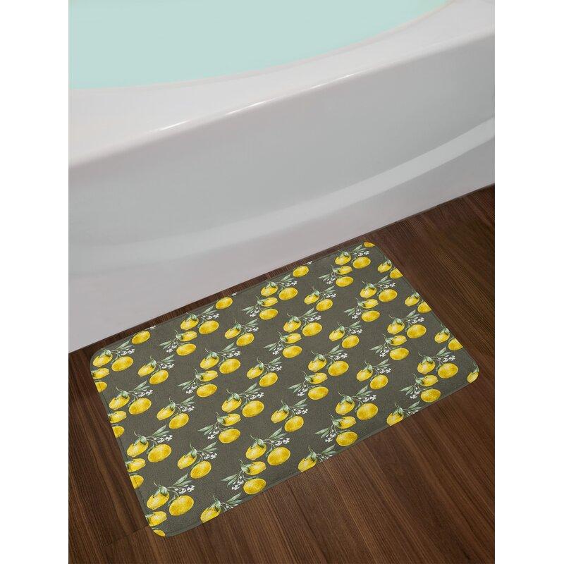 Lemon Fl Bath Rug