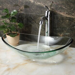 Tempered Glass Oval Vessel Bathroom Sink by Elite