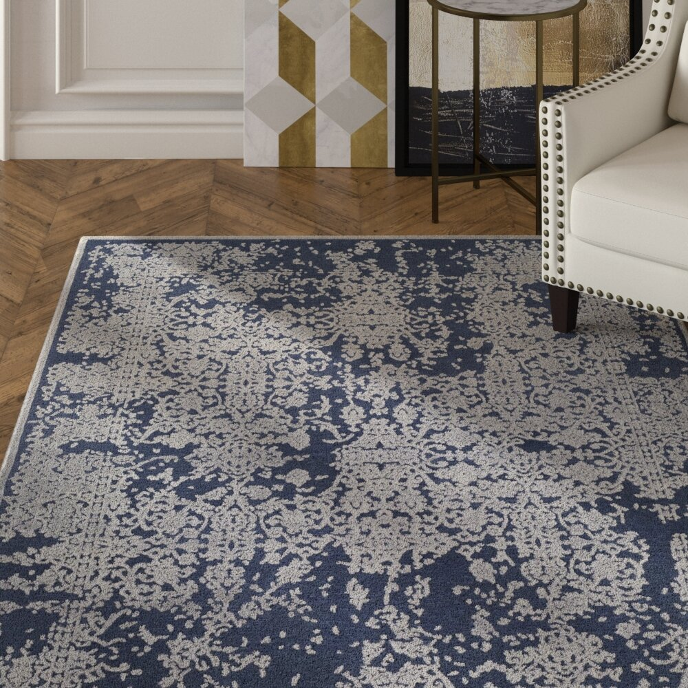 House Of Hampton Barclee Power Loom Dark Blue Gray Rug Wayfair