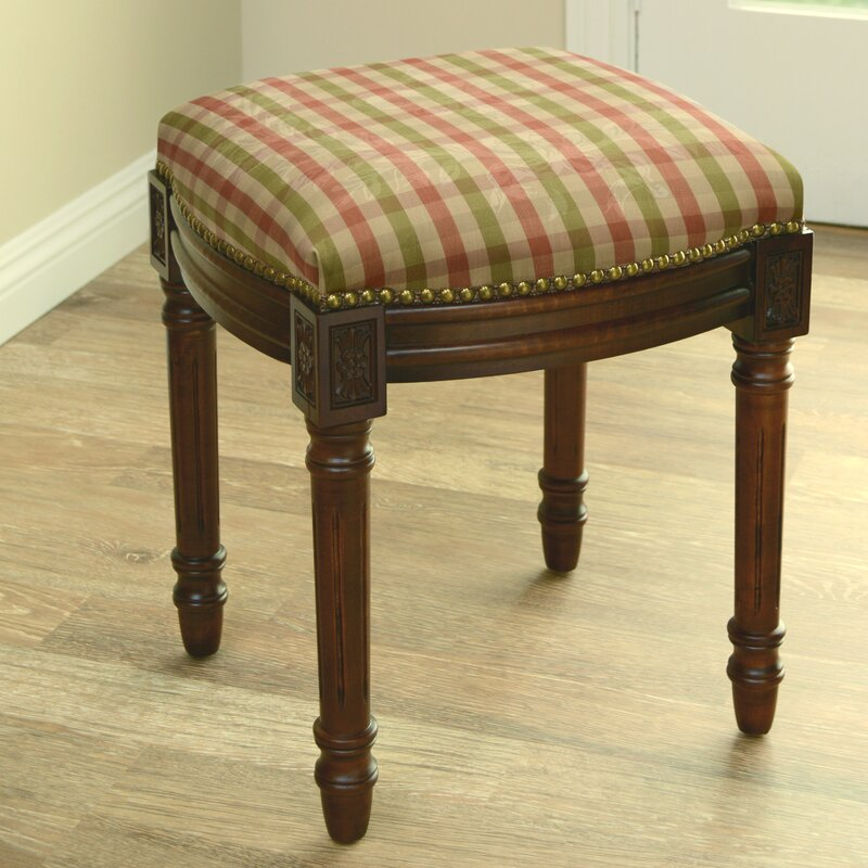 Red And Green Plaid Upholstered Vanity Stool
