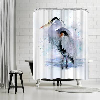 Rachel McNaughton Splashy Heron Shower Curtain