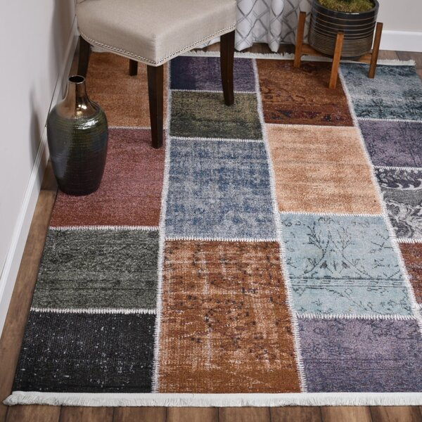 Winston Porter Vivant Patchwork Flatweave Brown Blue Area Rug Wayfair