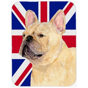 Review Union Jack French Bulldog with English British Flag Glass Cutting Board By Caroline's Treasures